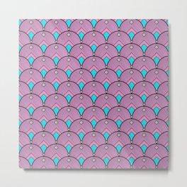 Purple Pastels Art Deco Fan Pattern Metal Print