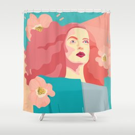 Spring model with flower motives and bold color with marble effect background Shower Curtain