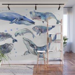 Whales, Whale design, whale wall art, sea, marine aquatic animal art, school learning wall Wall Mural