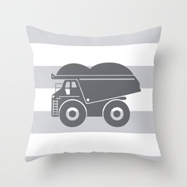 Grey on Grey Dump Truck Throw Pillow
