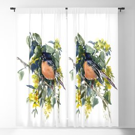 American Robin on Linden Tree, Deep blue Cottage Woodland style design Blackout Curtain