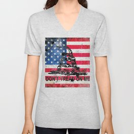 Viper N Bullet Holes On Old Glory - Gadsden and American Flag Unisex V-Neck