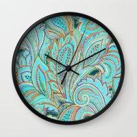 paisley Wall Clocks featuring paisley, paisley by Ariadne