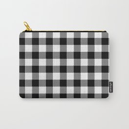 90's Buffalo Check Plaid in Black and White Carry-All Pouch