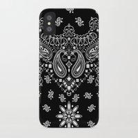 tupac iPhone & iPod Cases featuring black and white bandana by Marta Olga Klara