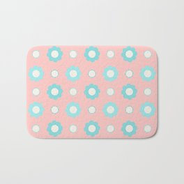 Blue and white flowers over pink Bath Mat