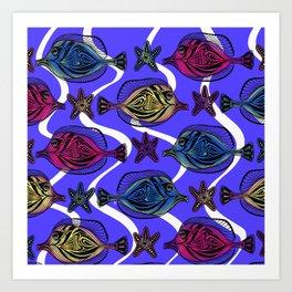 Here fishy FiShY FISHY…underwater gathering on purple blue Art Print