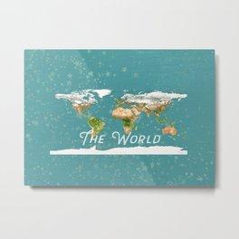 Teal World Star Map Metal Print