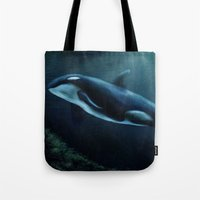 orca Tote Bags featuring Orca by Wesley S Abney