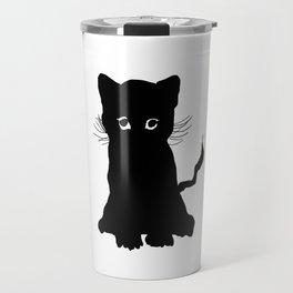 sweet black kitten digital painting Travel Mug