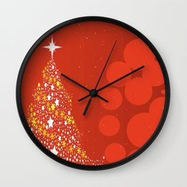 Red Christmas Background Wall Clock