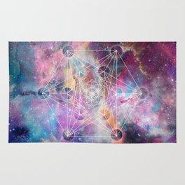 Watercolor and nebula sacred geometry  Rug