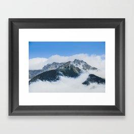 Misty mountain in a summer morning Framed Art Print