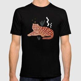 Resting Tiger Jungle Motif Midcentury Modern Cool Magical Mystical Abstract Art Bohemian Boho Style Trendy  T-shirt