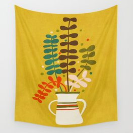 Potted Leaves Wall Tapestry