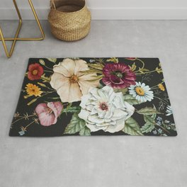 Colorful Wildflower Bouquet on Charcoal Black Rug