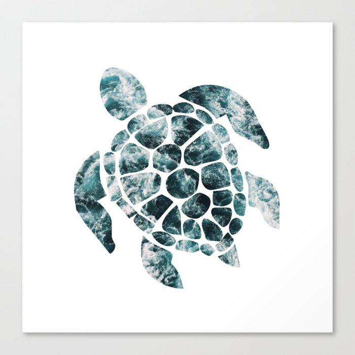 Sea Turtle - Turquoise Ocean Waves Leinwanddruck