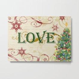 Christmas Love Collage Pine Trees Snowflakes Scrolls Metal Print