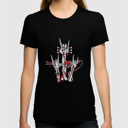 Bloody Skeleton Rocking Hands Rocker Gift T-shirt