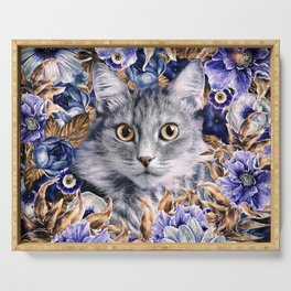 Cat in Flowers. Autumn Serving Tray