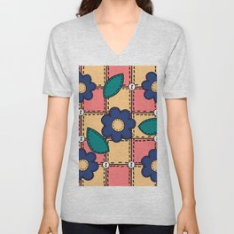 Retro Doodle Flower Style Quilt - Coral Yellow Dark Blue Unisex V-Neck