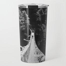 Man walking on the Tibetan bridge Travel Mug