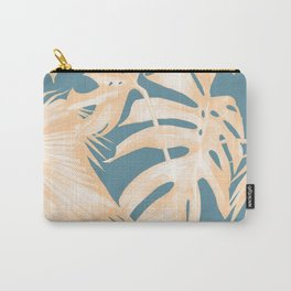 Island Vacation Hibiscus Palm Light Orange Teal Blue Carry-All Pouch