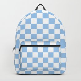 White and Baby Blue Checkerboard Backpack