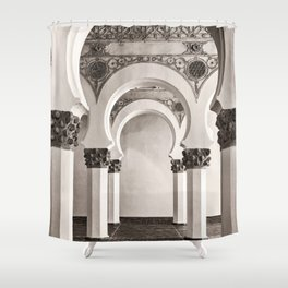 The Historic Arches in the Synagogue of Santa María la Blanca, Toledo Spain Shower Curtain