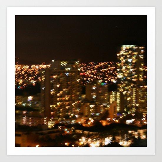 Honolulu City Lights Art Print