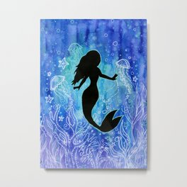 Mermaid Watercolor Underwater Metal Print