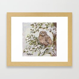 Owl In Tree Painting Framed Art Print