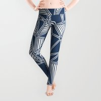 navy Leggings featuring Abstract Outline Lines Navy  by Project M