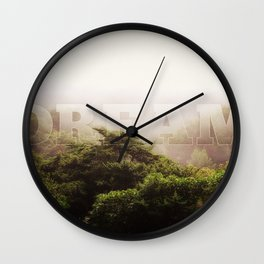 Dream Cloud Forest Hazy Typography Landscape Volcano Wall Clock