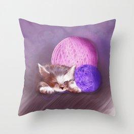 Tiny Sleepy Kitten Throw Pillow