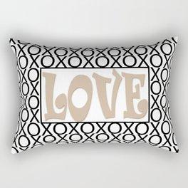 Pantone Hazelnut LOVE XOs (Hugs and Kisses) Typography Art Rectangular Pillow