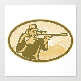 Hunter Aiming Rifle Oval Retro Canvas Print
