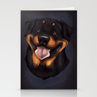 rottweiler Stationery Cards featuring Rottweiler 2 by Mickeyila Studios