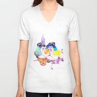 leah flores V-neck T-shirts featuring Flores by Tania Orozco