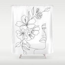 Minimal Line Art Woman Face II Shower Curtain