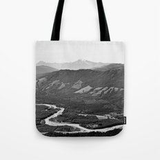 River in the Mountains B&W Tote Bag