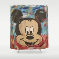 mickey Shower Curtains featuring Mickey by Jason L Cohen Fine Art