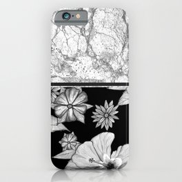 Marble Grey + Floral iPhone Case