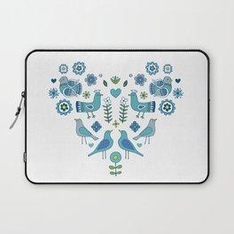 Scandi Folk Birds - blue & white Laptop Sleeve