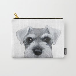 Schnauzer grey S Dog illustration original painting print Carry-All Pouch