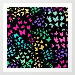 Beatufiful Colorful Butterfly Pattern Art Print