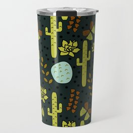 Cacti and butterflies at night Travel Mug