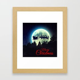 Santa in The Night Sky Framed Art Print