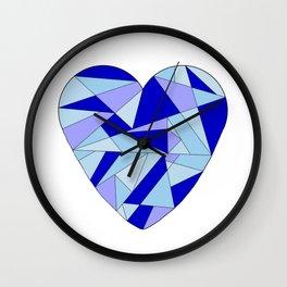 Fractal Blue Heart Wall Clock