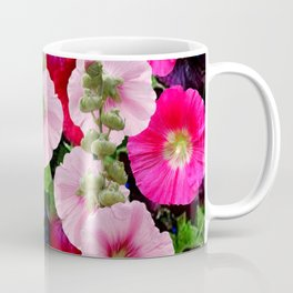 COLORFUL PINK ENGLISH HOLLYHOCKS GARDEN  COLLECTION Coffee Mug